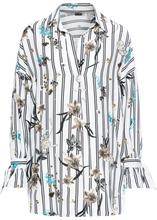 Bonprix | Блузка удлиненного покроя оверсайз (кремовый/черный с рисунком) | Clouty