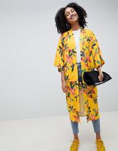 ASOS | Желтое удлиненное кимоно с цветочным принтом ASOS Made In Kenya x 2Man | Clouty