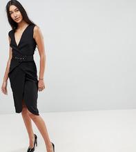ASOS   Платье-футляр миди с запахом и ремнем ASOS TALL - Черный   Clouty