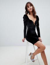 Boohoo | Бархатное облегающее платье в стиле 80-х Boohoo - Черный | Clouty