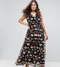 truly you | Платье макси с V-образным вырезом и вышивкой Truly You - Мульти | Clouty