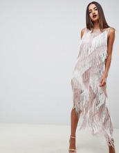 ASOS | Платье миди с бахромой и зигзагообразным принтом ASOS DESIGN - Мульти | Clouty