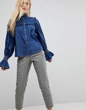 ASOS | Джинсовая рубашка цвета индиго с присборенной отделкой и оборками ASOS | Clouty