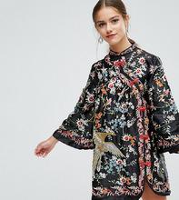 ASOS | Платье мини с вышивкой и воротником-стойкой ASOS PETITE - Мульти | Clouty