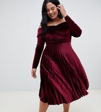 ASOS | Бархатное платье миди с широким вырезом и плиссированной юбкой ASOS DESIGN Curve - Фиолетовый | Clouty