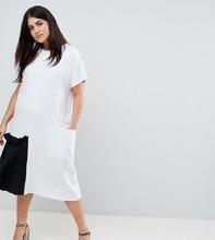 ASOS | Платье-футболка миди с контрастной плиссированной вставкой ASOS CURVE - Белый | Clouty