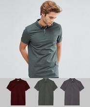 ASOS | Комплект из 3 футболок-поло с воротником на пуговицах ASOS DESIGN - СК | Clouty
