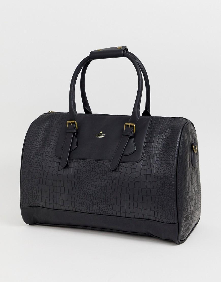 ASOS | Черная сумка из искусственной крокодиловой кожи ASOS DESIGN - Черный | Clouty