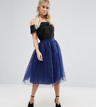 Little Mistress   Пышная юбка миди для выпускного с искусственным жемчугом Little Mistre   Clouty