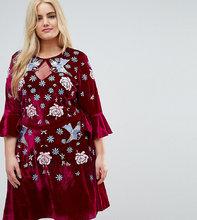 Frock And Frill | Бархатное короткое приталенное платье с декоративной отделкой Frock And Frill Plus - Красный | Clouty