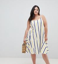 ASOS | Летнее платье-трапеция миди в полоску ASOS DESIGN Curve - Мульти | Clouty