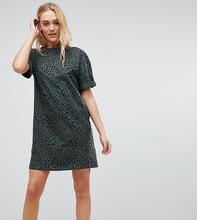 ASOS | Платье-футболка с отворотами на рукавах и леопардовым принтом ASOS TAL | Clouty