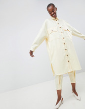 ASOS | Саржевая оversize-рубашка ASOS WHITE - Желтый | Clouty