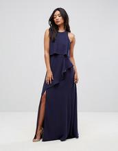 ASOS   Платье макси с кроп-топом и высоким разрезом ASOS - Темно-синий   Clouty