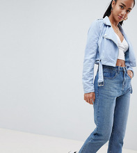 Missguided | Байкерская куртка из искусственной кожи Missguided Petite - Синий | Clouty