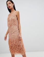 ASOS | Платье миди с пайетками и перьями ASOS DESIGN - Розовый | Clouty
