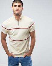 ASOS   Бежевая махровая футболка с молнией и кантом ASOS - Бежевый   Clouty