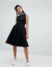 Love Moschino | Платье-трапеция миди с пайетками на воротнике Love Moschino - Черный | Clouty
