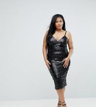 Club L   Платье на бретелях с пайетками Club L Plus - Черный   Clouty