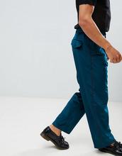 asos design | Широкие бархатные брюки с полосками по бокам ASOS DESIGN - Синий | Clouty