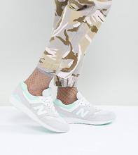 New Balance | Серые кроссовки со светло-бирюзовыми вставками New Balance 697 - Серый | Clouty