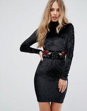 Club L | Бархатное облегающее платье с вышивкой Club L - Черный | Clouty