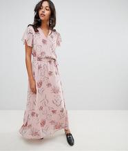 Vila | Платье макси с запахом и цветочным принтом Vila - Розовый | Clouty
