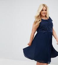 Lovedrobe | Платье с кружевным топом и плиссированной юбкой Lovedrobe - Темно-синий | Clouty