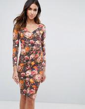Vesper | Платье с длинными рукавами и цветочным принтом Vesper - Оранжевый | Clouty
