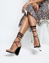 Boohoo | Босоножки с прозрачными ремешками и шнуровкой Boohoo - Черный | Clouty