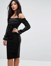 Vesper | Платье миди с открытыми плечами и присборенными вставками Vesper | Clouty