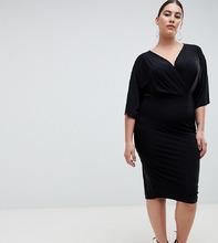 Outrageous Fortune Plus   Черное трикотажное платье миди Outrageous Fortune plus - Черный   Clouty