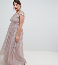 Little Mistress | Платье макси с глубоким вырезом и фигурными краями Little Mistress Plus - Серый | Clouty