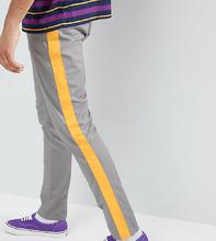ASOS   Серо-желтые суженные книзу брюки с полосками ASOS DESIGN Tall - Серый   Clouty