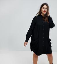 ASOS | Платье-рубашка миди с драпированными карманами ASOS CURVE - Черный | Clouty