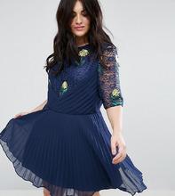 ASOS | Кружевное платье с вышивкой ASOS CURVE - Темно-синий | Clouty