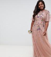 ASOS | Платье макси из сетки добби с цветочной вышивкой и рукавами клеш ASOS DESIGN Curve - Розовый | Clouty