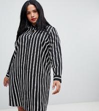 ASOS | Платье-рубашка мини в полоску с длинными рукавами ASOS DESIGN Curve - Мульти | Clouty