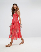 Free People   Платье миди с кружевным слоем Free People - Розовый   Clouty