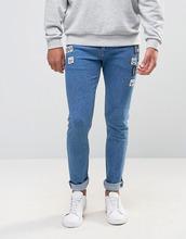 ASOS   Ярко-синие супероблегающие джинсы с нашивками ASOS - Синий   Clouty