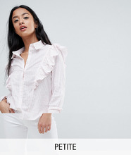 Noisy May | Рубашка в полоску с оборками Noisy May Petite - Розовый | Clouty