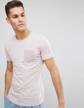 Selected Homme   Футболка с полосками и карманом Selected Homme - Розовый   Clouty