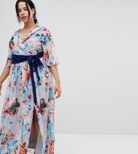 Little Mistress | Платье макси с глубоким вырезом и принтом Little Mistress Plus - Мульти | Clouty