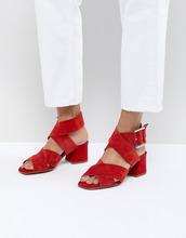 ASOS | Замшевые сандалии с перекрестными ремешками ASOS DESIGN Tosh - Красный | Clouty