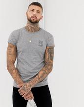 bershka | Серая облегающая футболка с принтом на груди Bershka - Серый | Clouty