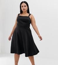 ASOS   Платье для выпускного с квадратным вырезом ASOS DESIGN Curve - Черный   Clouty