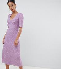 Fashion Union | Чайное платье миди с цветочным принтом Fashion Union tall - Фиолетовый | Clouty