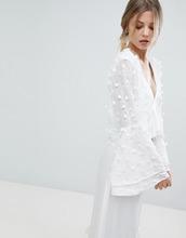 Y.A.S. | Пиджак с расклешенными рукавами и 3D-цветами Y.A.S - Белый | Clouty