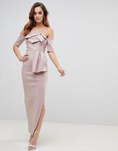 ASOS   Платье макси со спущенными плечами и бантом ASOS - Розовый   Clouty