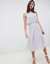 ASOS | Платье миди с отделкой на топе ASOS DESIGN - Серый | Clouty